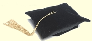 4 corner black velvet doctoral tam with gold silk tassel