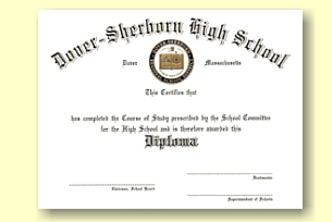Dover-Sherborn High School diploma custom designed by University Cap & Gown