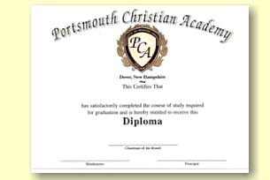 Portsmouth Christian Academy custom designed diploma from University Cap & Gown