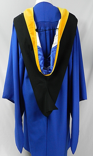 Custom designed Master's Degree academic regalia by University Cap & Gown