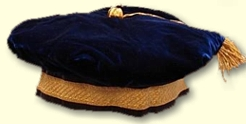Nebulus blue presidential velvet tam with gold braid
