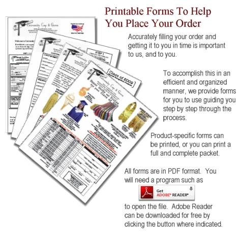 Printable Order Forms: University Cap & Gown